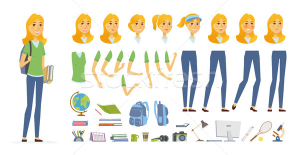 Student - vector cartoon people character constructor Stock photo © Decorwithme