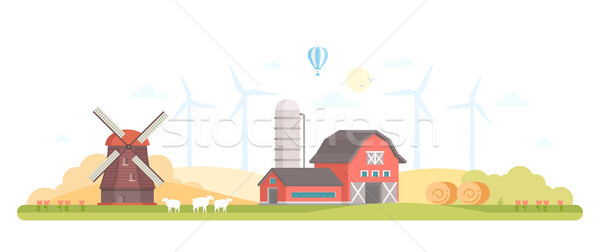 Village - modern flat design style vector illustration Stock photo © Decorwithme