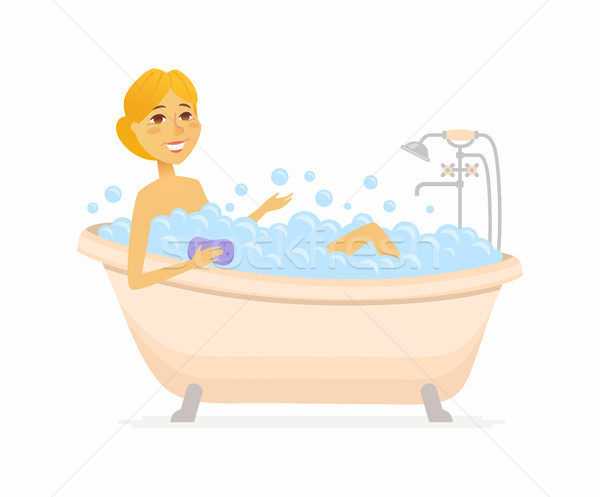Young woman having a bath - cartoon people character isolated illustration Stock photo © Decorwithme