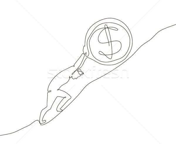 Money making - one line design style illustration Stock photo © Decorwithme