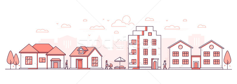 City life - modern thin line design style vector illustration Stock photo © Decorwithme