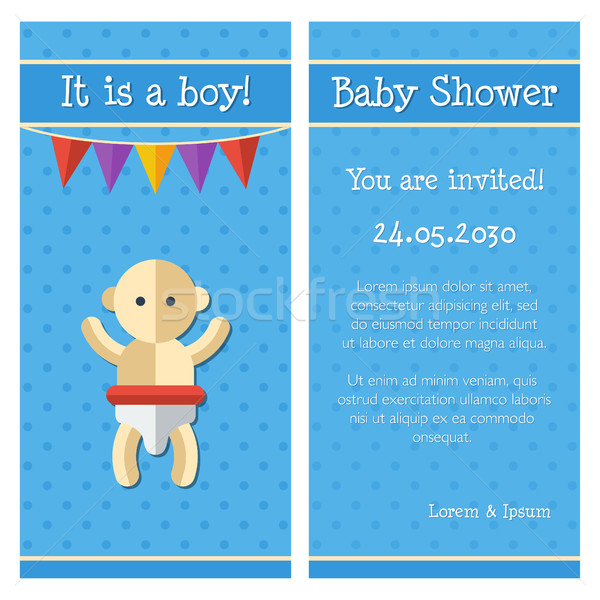 Illustratie ontwerp cute baby douche sjabloon Stockfoto © Decorwithme