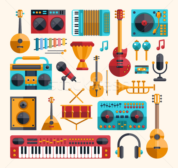 Set of modern flat design musical instruments and music tools ic Stock photo © Decorwithme