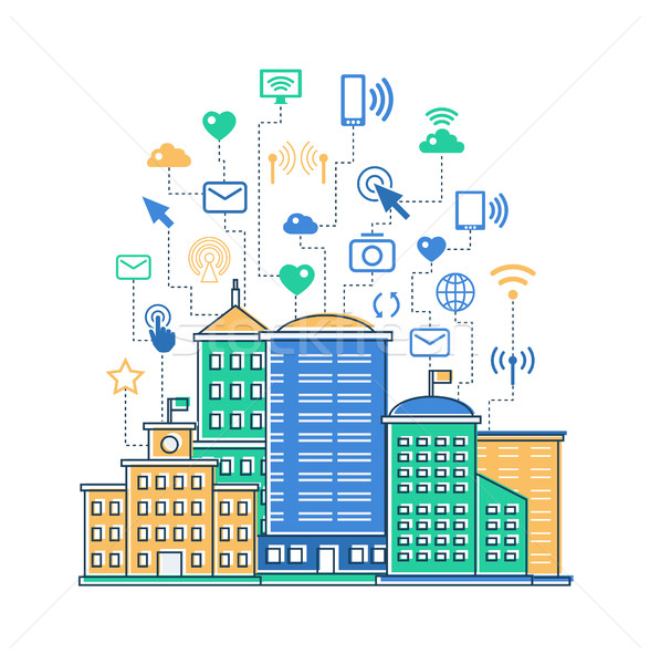 illustration of flat design city composition Stock photo © Decorwithme