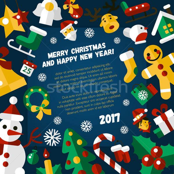 Joyeux Noël happy new year design carte modernes Photo stock © Decorwithme