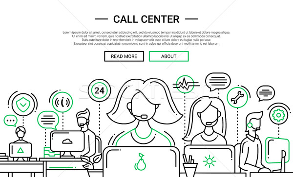 Call Center line Design Website Banner Illustration Stock foto © Decorwithme