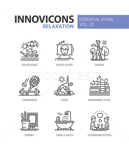 Relaxation - modern color vector single line icon set Stock photo © Decorwithme