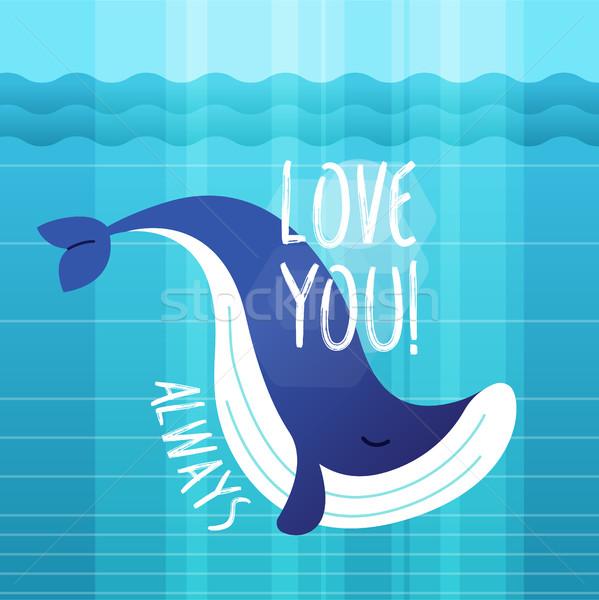 Stock photo: Whale - modern vector phrase flat illustration.