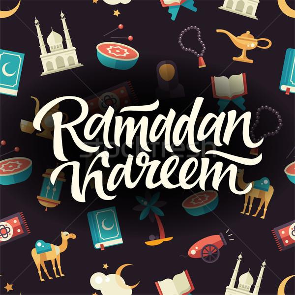 Ramadán végtelen minta iszlám kultúra ikonok modern Stock fotó © Decorwithme