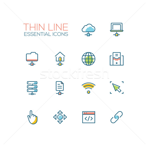 Network Data - modern vector single thin line icons set Stock photo © Decorwithme