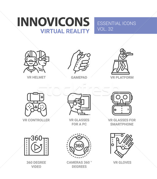 Virtual Reality - modern vector line icons set Stock photo © Decorwithme