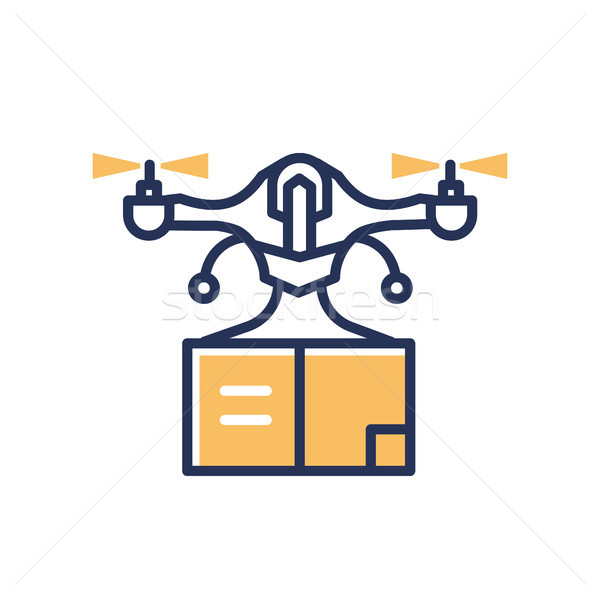 Delivery Drone - modern vector line design single icon. Stock photo © Decorwithme