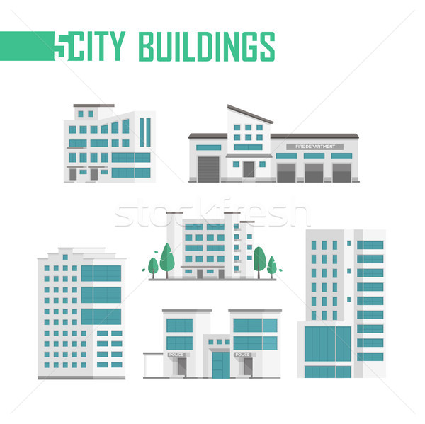 Five city buildings set of icons - vector illustration Stock photo © Decorwithme