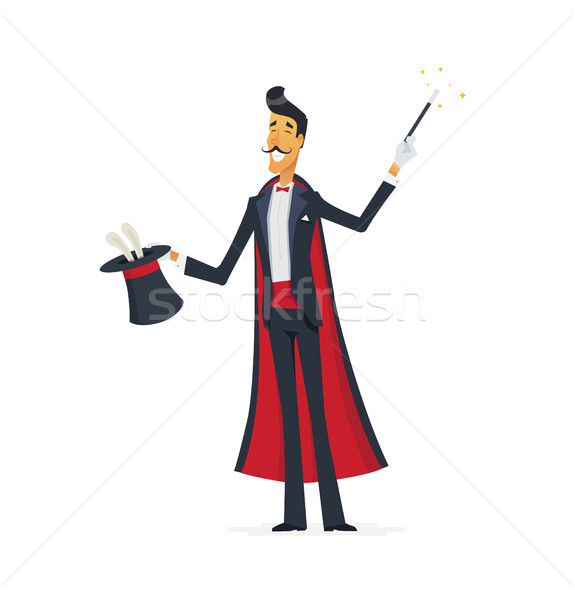 Magician doing a hat trick - cartoon people characters isolated illustration Stock photo © Decorwithme