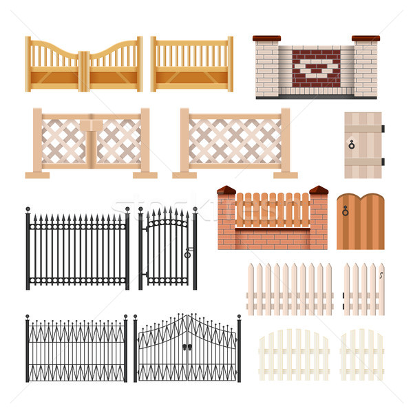 Set of fences - modern vector realistic isolated clip art Stock photo © Decorwithme