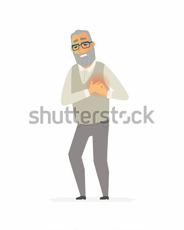Senior man with a heartache - cartoon people characters isolated illustration Stock photo © Decorwithme