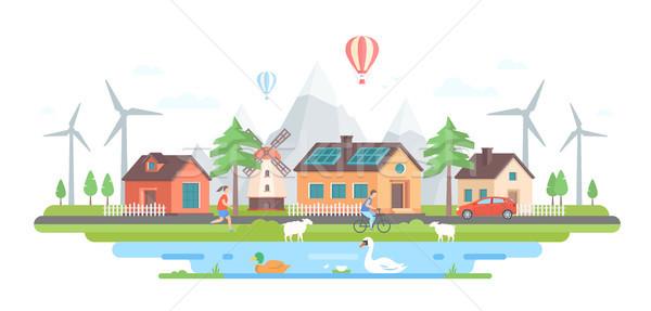 Eco-friendly village - modern flat design style vector illustration Stock photo © Decorwithme