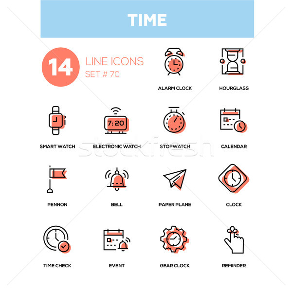 Time concept - line design icons set Stock photo © Decorwithme