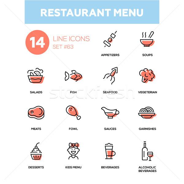 Restaurant menu - line design icons set Stock photo © Decorwithme