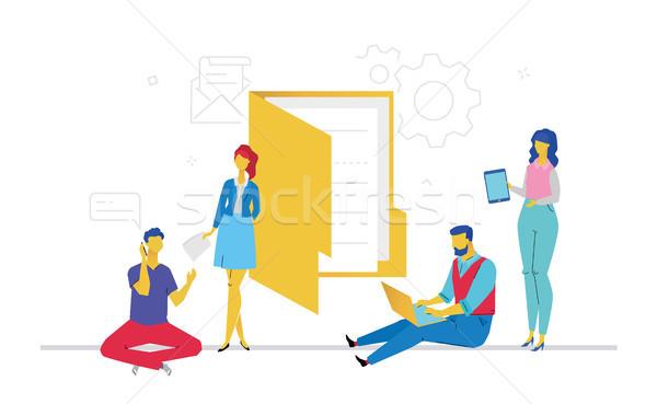 Office life - flat design style colorful illustration Stock photo © Decorwithme