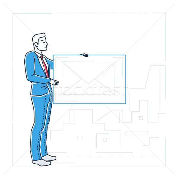 Businessman with a letter - line design style isolated illustration Stock photo © Decorwithme