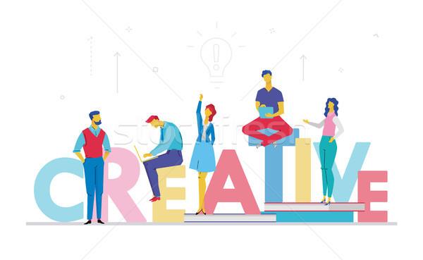Foto stock: Creativa · equipo · de · negocios · diseno · estilo · colorido · ilustración