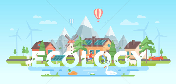 Stockfoto: Landschap · bergen · moderne · ontwerp · stijl · Blauw