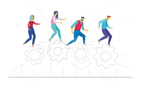 Teamarbeit Design Stil farbenreich Illustration weiß Stock foto © Decorwithme