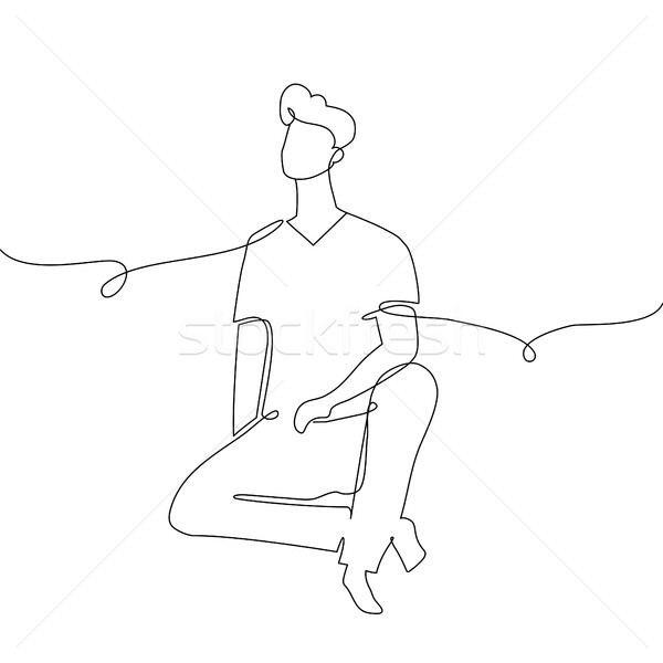 Boy sitting - one continuous line design style illustration Stock photo © Decorwithme