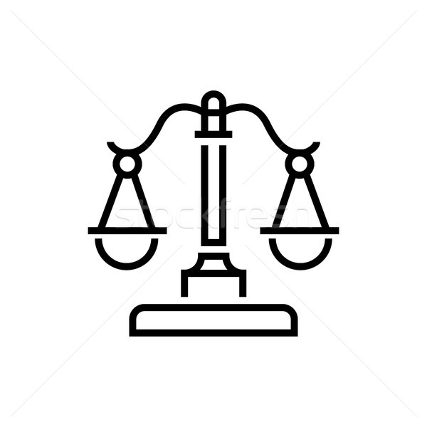 Justice scales - line design single isolated icon Stock photo © Decorwithme