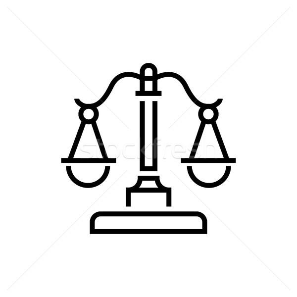 Justitie schalen lijn ontwerp geïsoleerd icon Stockfoto © Decorwithme