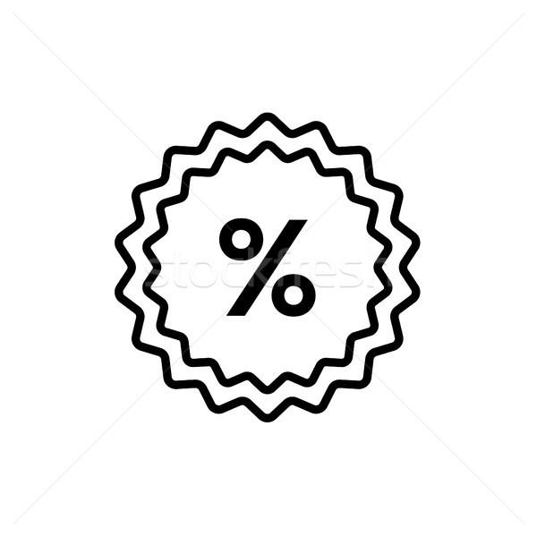 Pour cent ligne design isolé icône blanche Photo stock © Decorwithme