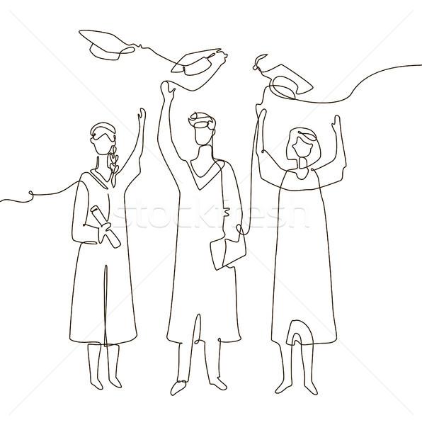 Stock photo: Happy graduating students - one line design style illustration