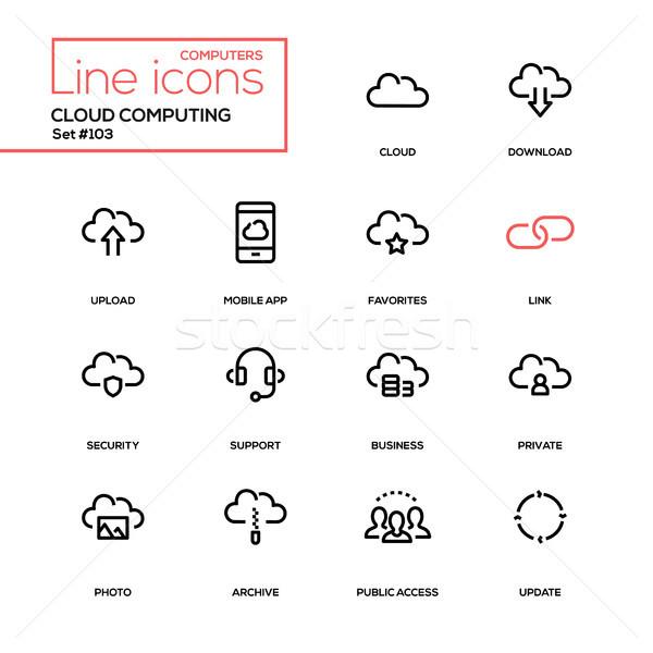 Cloud computing - modern line design icons set Stock photo © Decorwithme