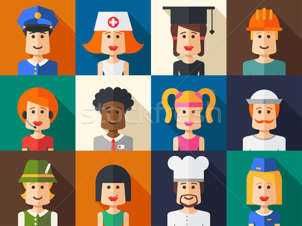 Stock photo: Set of isolated flat design people icon avatars for social netwo
