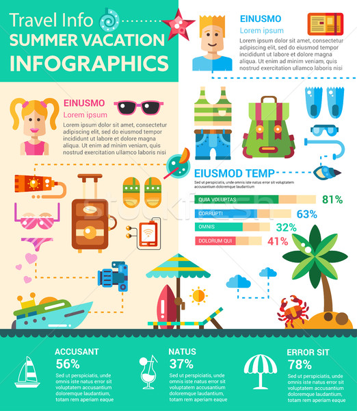 Summer Vacation Infographics - poster, brochure cover template Stock photo © Decorwithme