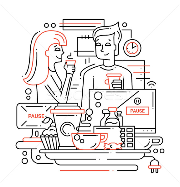 Coffee Break - line design illustration Stock photo © Decorwithme