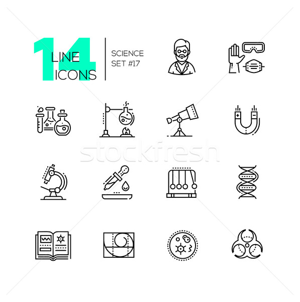 Science - modern single line icons set Stock photo © Decorwithme