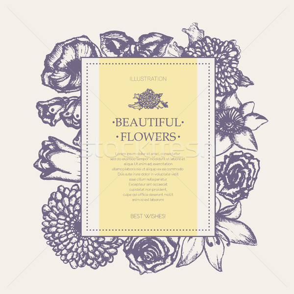 Beautiful Flowers - monochromatic hand drawn square banner. Stock photo © Decorwithme