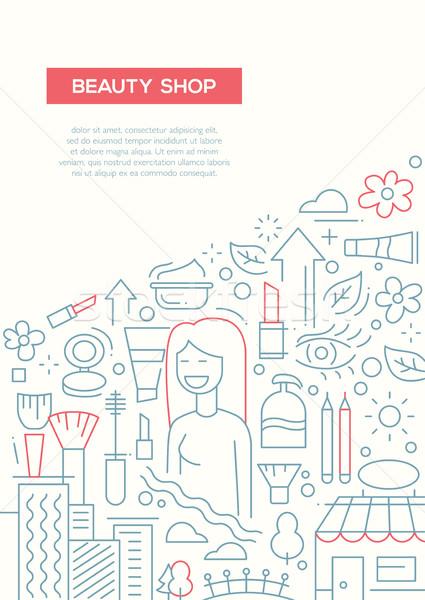 Beleza compras linha projeto folheto cartaz Foto stock © Decorwithme