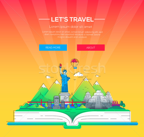 Lets travel - vector line travel illustration Stock photo © Decorwithme