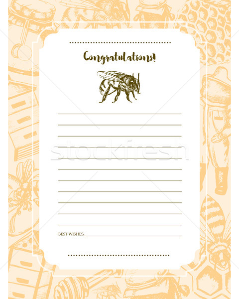 Bee Garden - vector hand drawn template card. Stock photo © Decorwithme