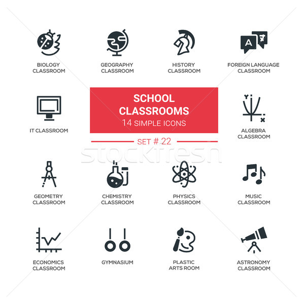 School classrooms - modern simple icons, pictograms set Stock photo © Decorwithme