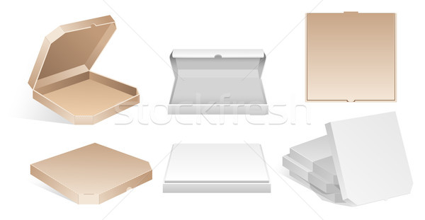 Blank carton pizza boxes - modern vector isolated clip art Stock photo © Decorwithme
