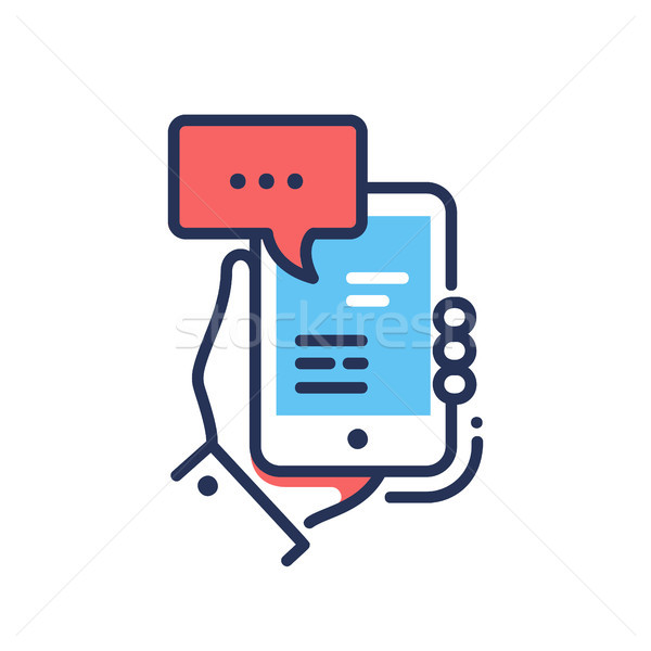 Online Chat - modern vector line design single icon Stock photo © Decorwithme