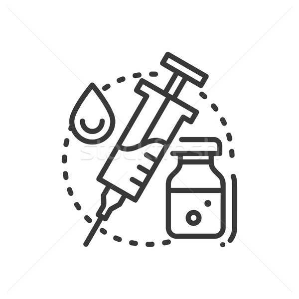 Vaccination - line design single isolated icon Stock photo © Decorwithme