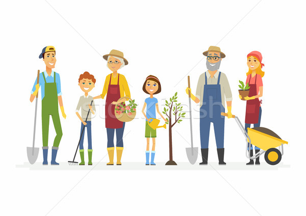 Voluntary saturday work - cartoon people characters isolated illustration Stock photo © Decorwithme
