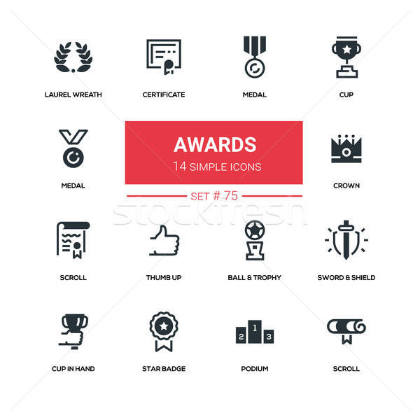 Awards - line design silhouette icons set Stock photo © Decorwithme