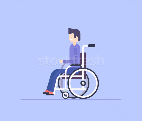 Stock photo: Man in a wheelchair - modern flat design style isolated illustration