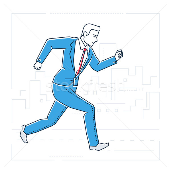 Businessman running - line design style isolated illustration Stock photo © Decorwithme
